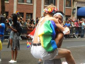 Hundreds of thousands of people crowded the streets of Manhattan for the 2015 Pride Parade, which took place just days after the U.S. Supreme Court legalized same-sex marriage.