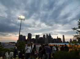 The sun sets over Brooklyn Bridge Park.