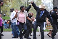 Impromptu dancers celebrated the arrival of spring in Manhattan's Central Park.