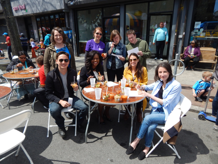 Sometimes, Anna, standing far left, gets to take a break from writing and do things like judge a chicken eating contest with her news colleagues (and one politician) in Flatbush, Brooklyn.