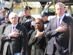 NYPD Commissioner William Bratton, left, First Lady of New York City Chirlane McCray and Mayor Bill de Blasio attend a funeral for Police Officer Dennis Guerra, who died responding to a Coney Island fire.