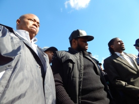 Brooklyn Borough President Eric Adams, left, community activist Shanduke McPhatter, and New York City Councilman Jumaane Williams responded to a shooting that killed two people at a church in Flatbush, Brooklyn.