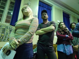 Ditmas Park, Brooklyn resident Sarah Garvey, left, and others waited to voice their opinions at a town hall on the string of armed robberies that occurred in the neighborhood.