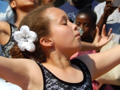 A dancer concentrates at a festival in Flatbush, Brooklyn.