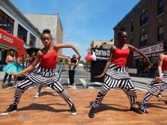 Dancers perform at a Flatbush, Brooklyn street festival.