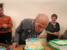 Max Stern celebrates his 100th birthday at a Queens senior center.