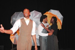 "David Clarke, left, Stephen Winburn and Shaunette Wilson star in Rita Dove's ""Thomas and Beulah"" at Queens College. Dove, who won the Pulitzer Prize for the book of poetry, attended the performance."