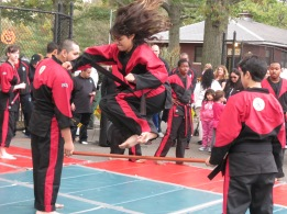 Showing off her karate skills at a fall festival in Woodhaven, Queens.